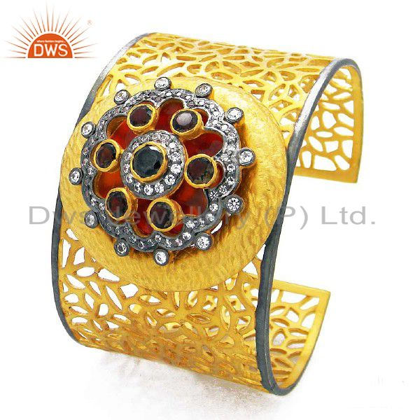 22K Gold Plated Silver Smoky Quartz And CZ Filigree Designer Wide Cuff Bracelet