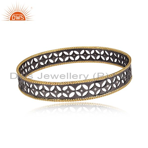 Xmas Gifts Black Oxidized 925 Sterling Silver Crafted Bangle Cubic Zirconia