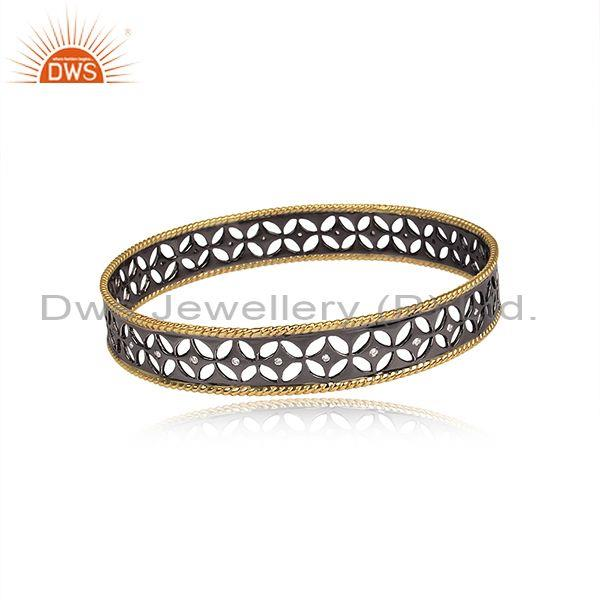 Xmas gifts black oxidized 925 silver crafted bangle cubic zirconia