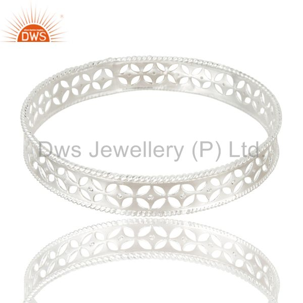 Xmas gifts solid 925 silver crafted wide bangle cubic zirconia