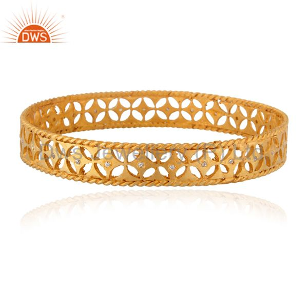 Xmas gifts 925 silver crafted bangle cubic zirconia 24k gold plated
