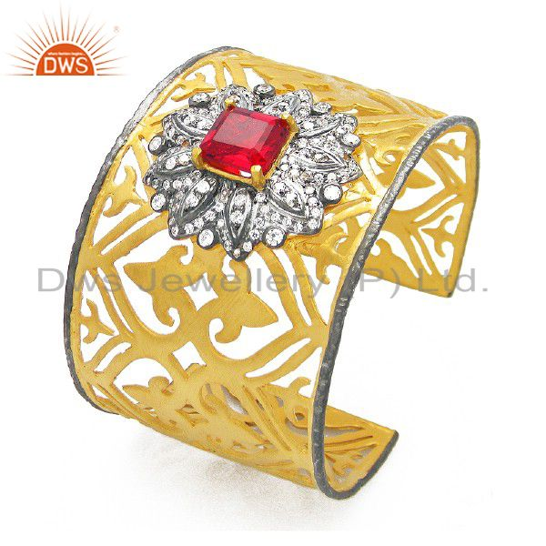 22K Gold Plated Sterling Silver Red Glass And CZ Designer Wide Cuff Bracelet