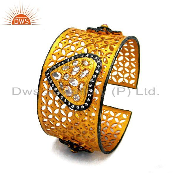18K Yellow Gold Plated Silver Cubic Zirconia Filigree Wide Cuff Bracelet Bangle