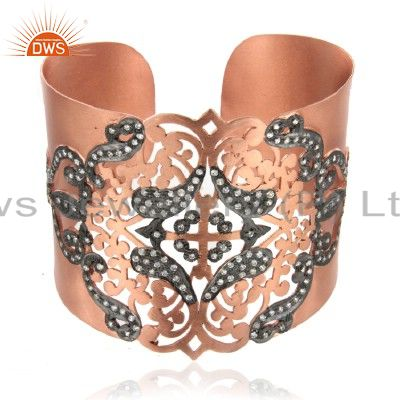 18K Rose Gold Plated Sterling Silver Designer Wide Cuff Bracelet With CZ