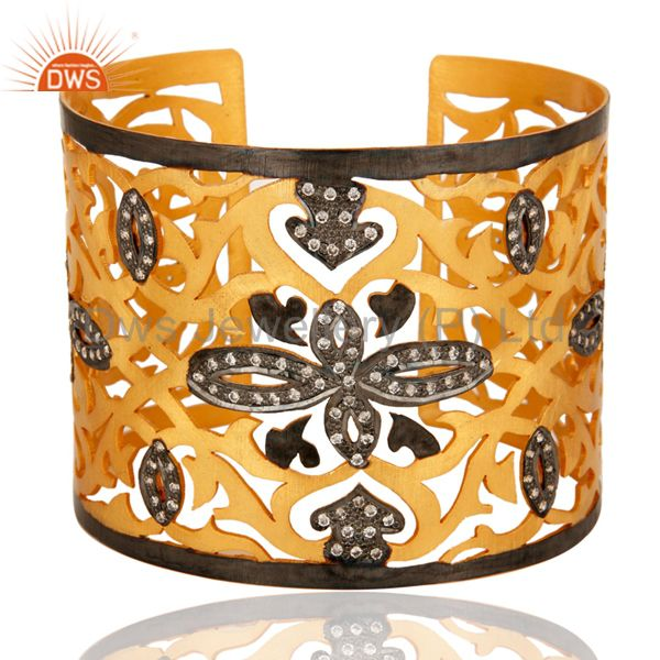 Handmade Sterling Silver With Gold Plated Filigree Design Cuff Bracelet With CZ
