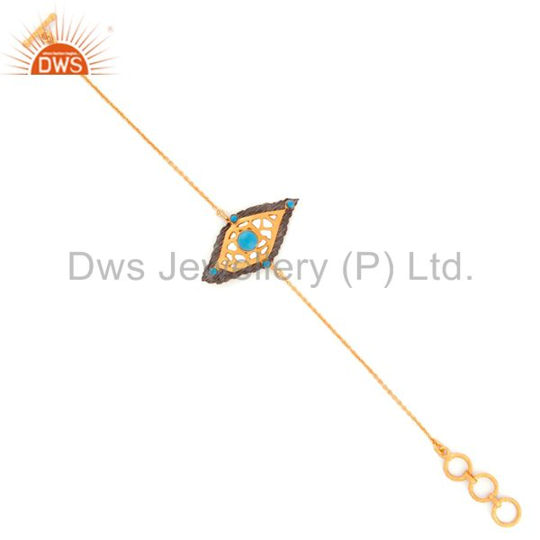 Turquoise jewelry 925 sterling silver 18k gold gp charm gift fashion chain brace