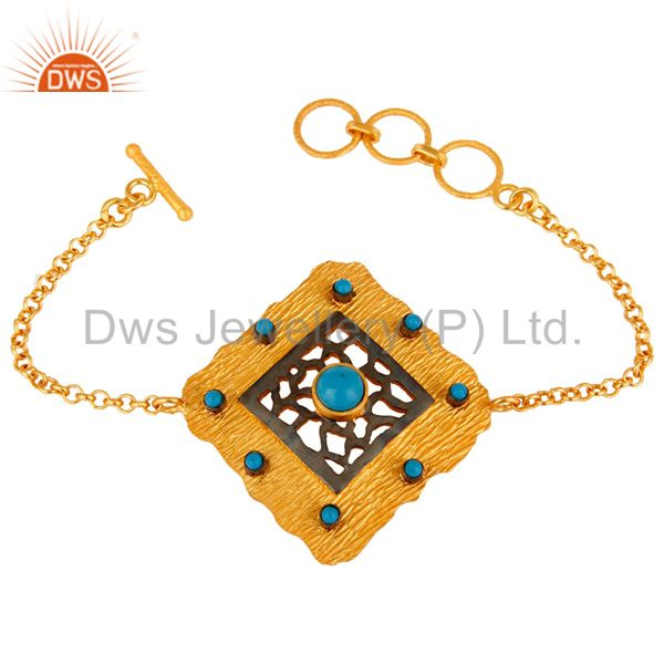 14K Matte Yellow Gold Plated Sterling Silver Turquoise Fashion Chain Bracelet