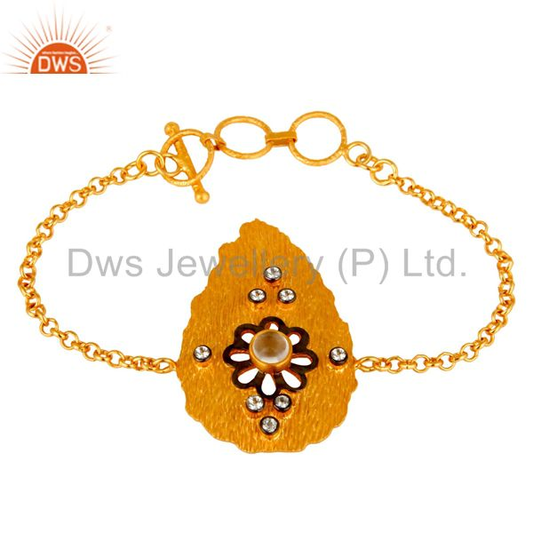 14K Gold Plated Sterling Silver Crystal Quartz And CZ Fashion Chain Bracelet