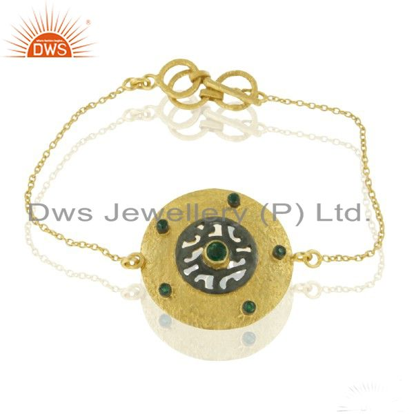 14K Yellow Gold Plated Sterling Silver Emerald Gemstone Fashion Chain Bracelet