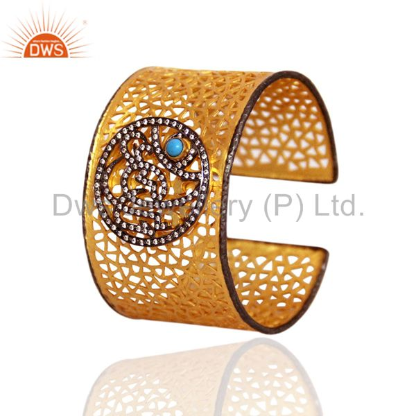 18K Gold Plated Sterling Silver Turquoise And CZ Filigree Designer Cuff Bracelet
