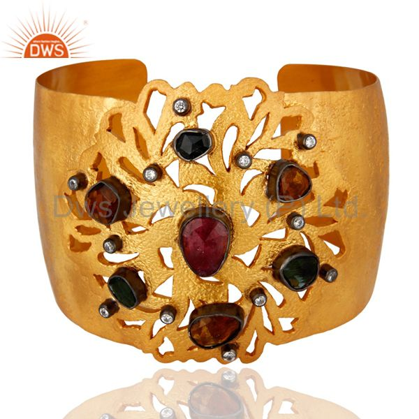 925 sterling silver tourmaline wide bangle cuff bracelet with gold plated