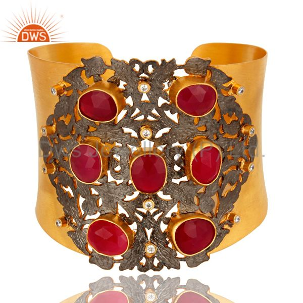 Designer Peach Moonstone And White CZ Wide Cuff With Yellow Gold Plated