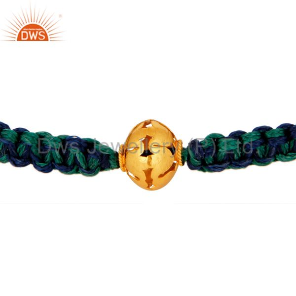 18K Solid Yellow Gold Filigree Design Bead Ladies Fashion Macrame Bracelet