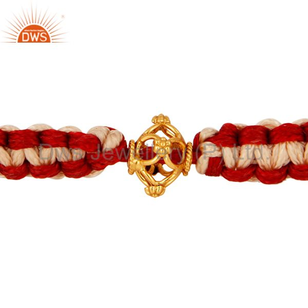 Stylish Macrame Designs Bracelet Jewelry With Solid 18K Gold Bead