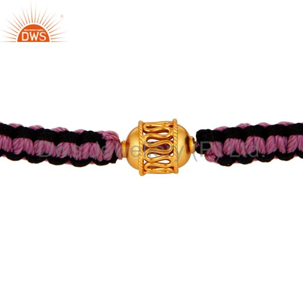 Designer 18K Yellow Gold Bead Macrame Bracelet - Latest Celebrity Trend Jewelry