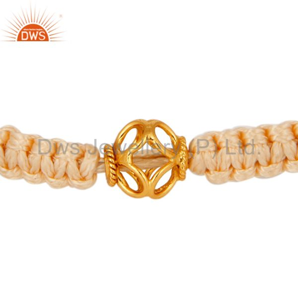 Genuine 18K Yellow Gold Bead Macrame Bracelet Jewelry - Perfect Unisex Gift