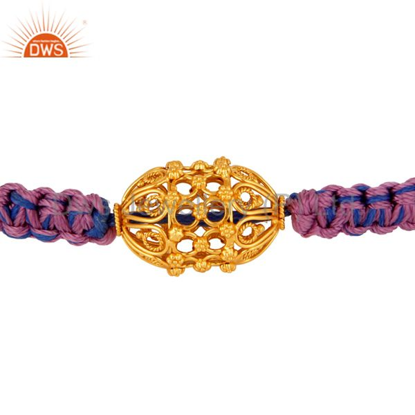 Handmade Designer 18K Yellow Gold Bead Macrame Thread Bracelet Jewelry