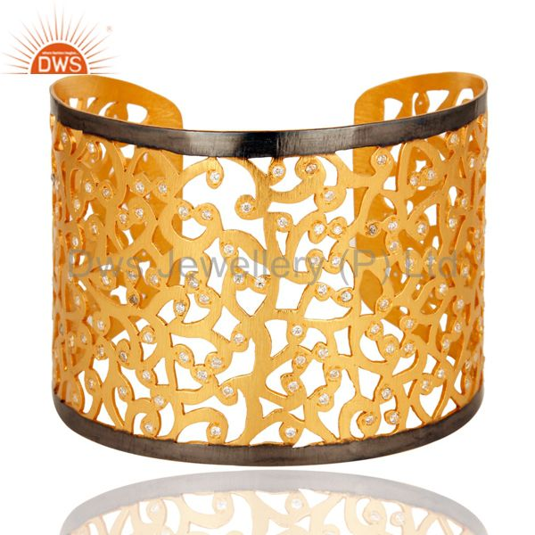 Designer 925 Silver With Gold Plated American Diamond Wide Bangle Cuff Bracelet