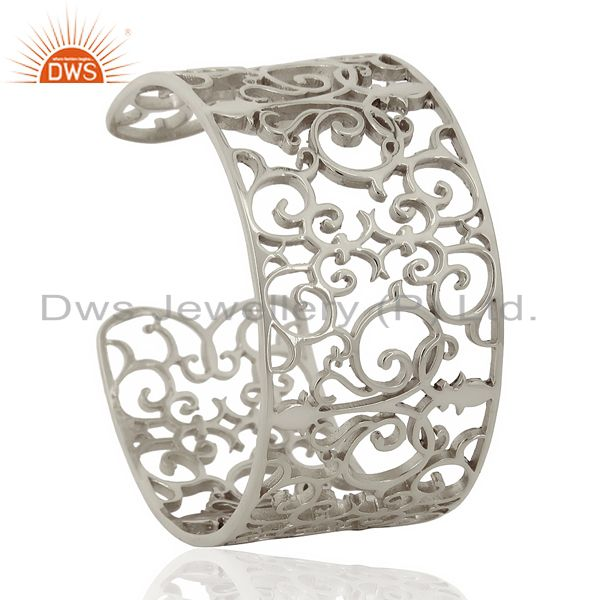 Elegant Swirl Cuff Ornate Adutable White Rhodium Plated Sterling Silver Cuff