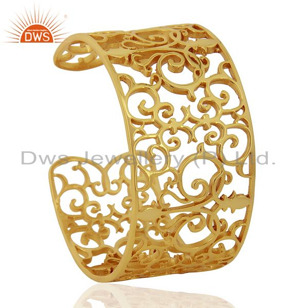 Elegant Swirl Cuff Ornate Adutable 14K Gold Plated 92.5 Sterling Silver Cuff