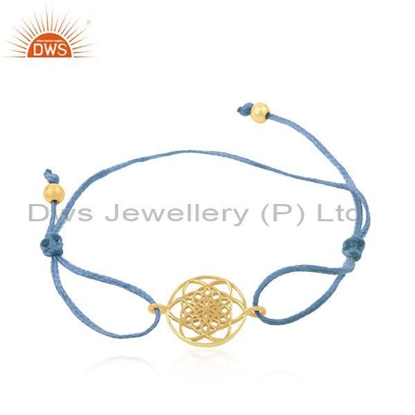 Yellow Gold Plated 925 Silver Adjustable Macrame Bracelet Wholesale