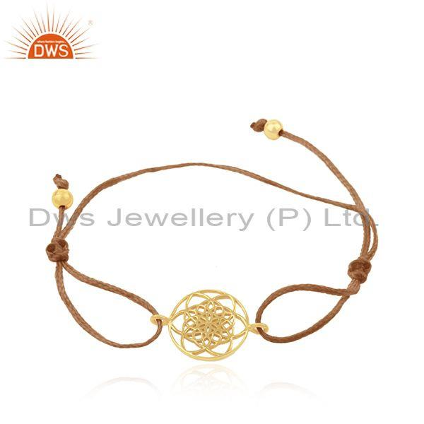 Gold Plated Sterling Silver Adjustable Macrame Bracelet Manufacturer