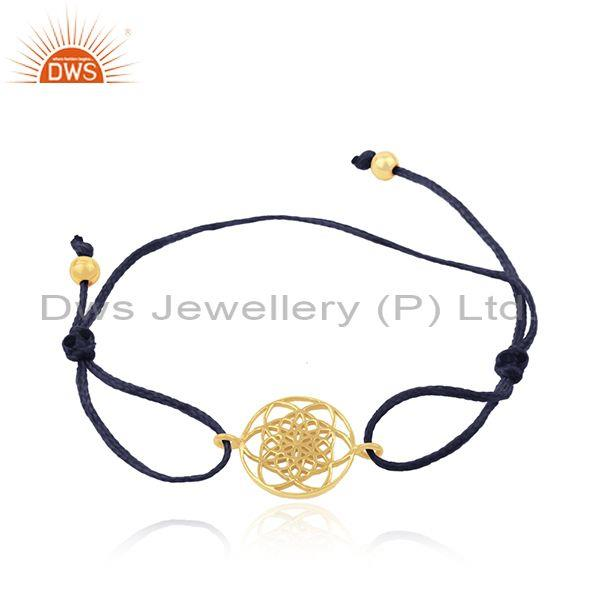 Dark Blue Adjustable Cord Gold Plated Sterling Silver Charm Bracelet
