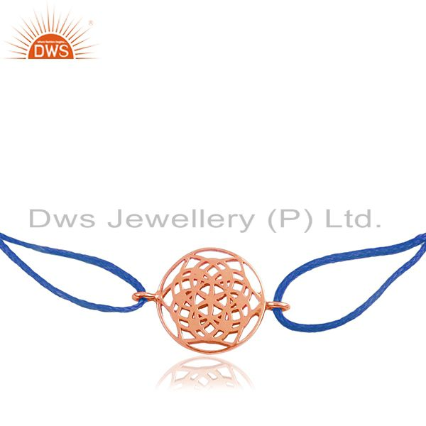Blue Macrame Rose Gold Plated Plain Silver Charm Bracelet Manufacturer