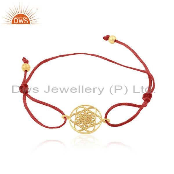 Adjustable red cord gold plated 925 sterling silver charm bracelet