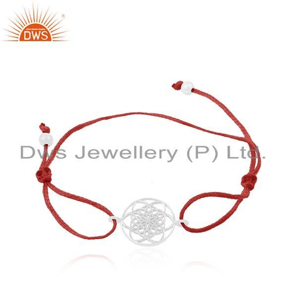 Adjustable Red Cord 925 Sterling Fine Plain Silver Charm Bracelet
