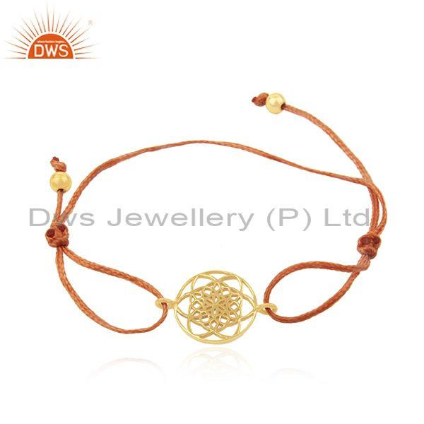 Gold Plated 925 Sterling Silver Orange Cord Adjustable Bracelet