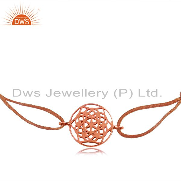 Rose gold plated 925 silver traditional charm macrame bracelet