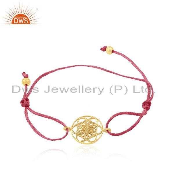 Gold Plated 925 Sterling Silver Pink Cord Adjustable Bracelet Supplier