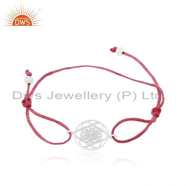 Plain Fine 925 Sterling Silver Pink Cord Adjustable Bracelet Supplier