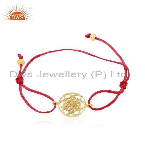 Gold Plated Sterling Silver Red Cord Adjustable Macrame Bracelet
