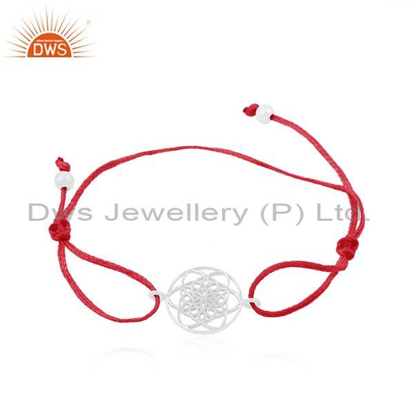 Designer fine sterling plain silver red cord adjustable bracelet