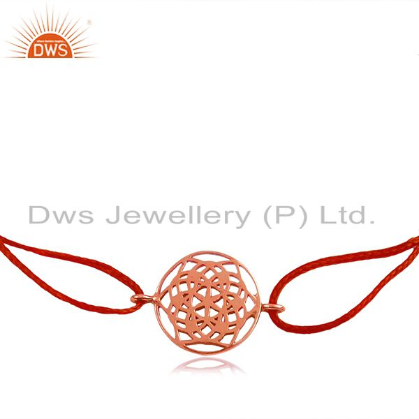 Red Macrame Plain Sterling Silver Charm Bracelet Jewelry Manufacturer
