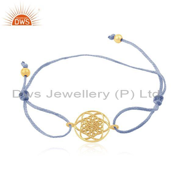 Sky Blue Adjustable Cord Gold Plated 925 Silver Bracelet Manufacturer