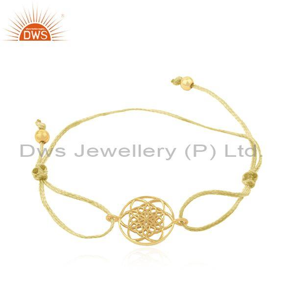 Adjustable Yellow Cord Gold Plated 925 Silver Bracelet Manufacturer