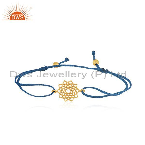 Handmade Yellow Gold Plated Sterling Plain Silver Bracelet Wholesaler