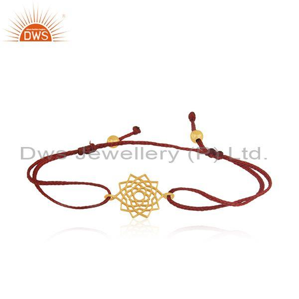 Handmade Dark Red Macrame Plain Sterling Silver Gold Plated Bracelet