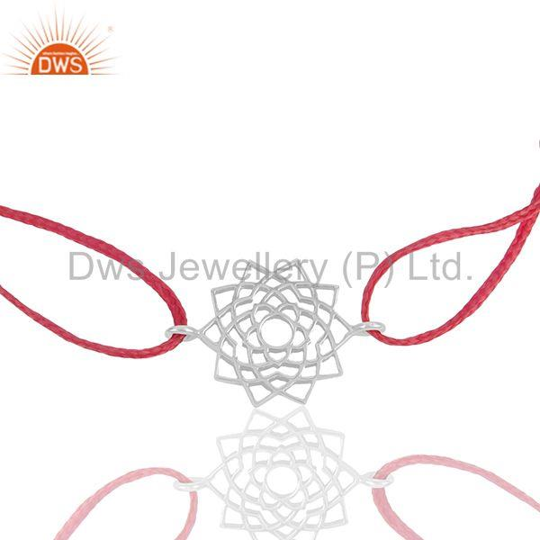 Pink thread chakra design 925 silver adjustable bracelet wholesale
