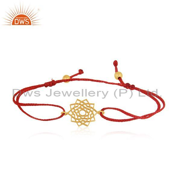 New Chakra Design Gold Plated Plain Sterling Silver Macrame Bracelet