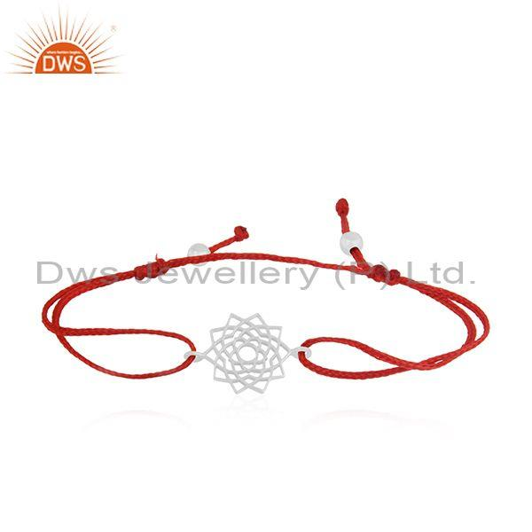 Fine Sterling Plain Silver Red Macrame Bracelet Manufacturer India