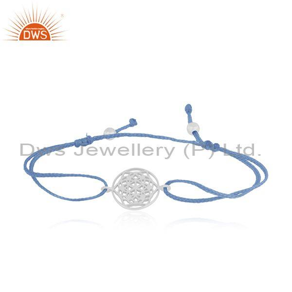 Fine sterling plain silver sky blue cord macrame bracelet suppliers