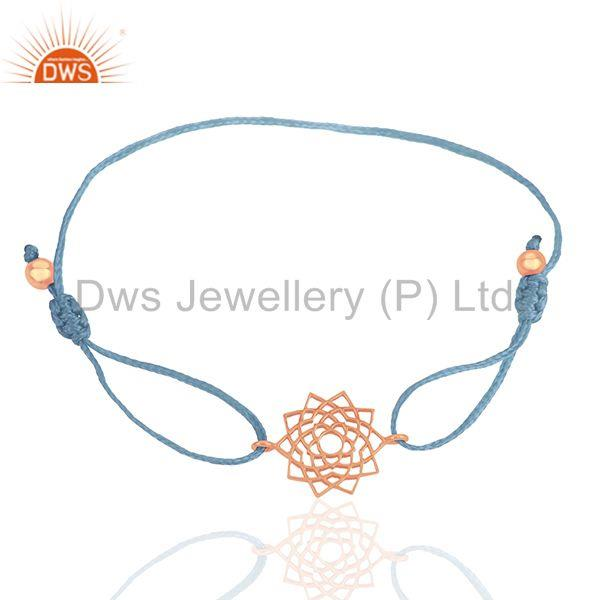 Sky Blue Thread Macrmae Bracelet With Rose Gold Plated Silver Charm