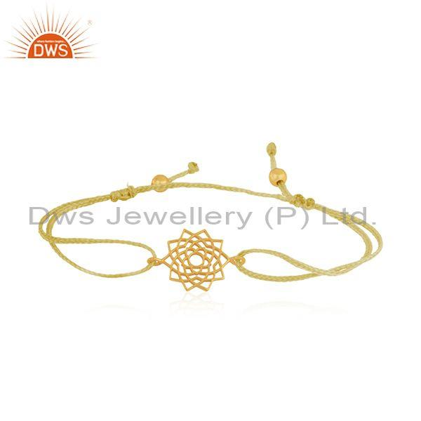 Gold Plated 925 Sterling Plain Silver Yellow Macrame Bracelet Supplier