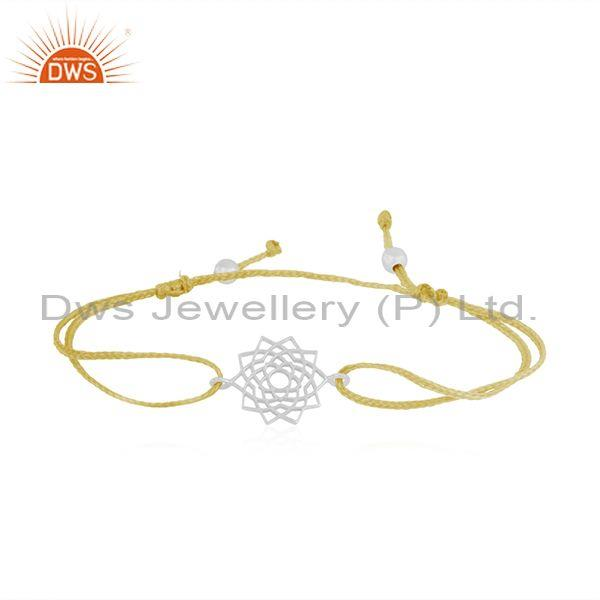 Yellow Cord Macrame Fine Sterling Plain Silver Bracelet Wholesale