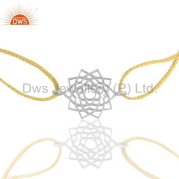 Chakra Design 925 Silver Yellow Thread Adjustable Sahasrarara chakra Bracelet