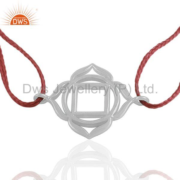 White Sterling Plain Silver Red Macrame Charm Bracelet Manufacturers